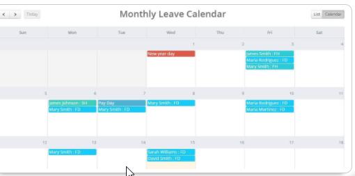 Leave Calendar - Purelytracking.com